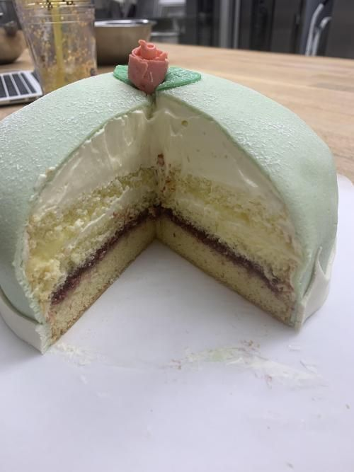 Attempted A Swedish Princess Cake Laying The Marzipan Over It