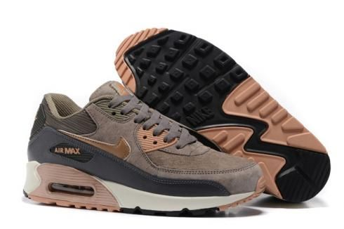 Nike Air Max 90 Leather Women Men Shoes Red Bronze Sail Oatmeal ...