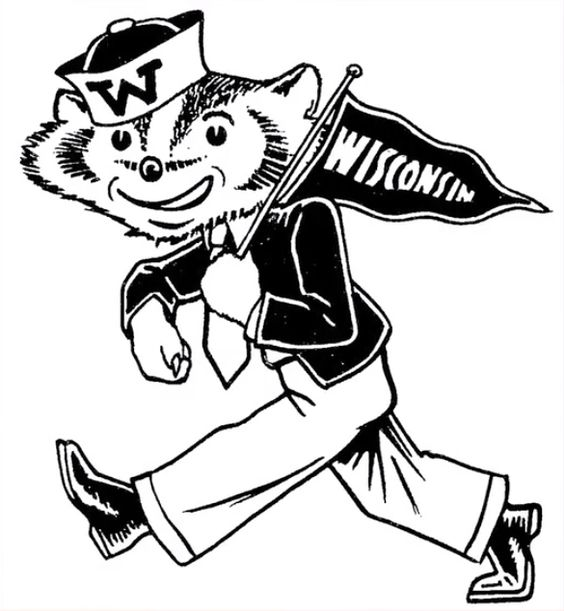 college mascot coloring pages - bucky badger logo the image kid has it