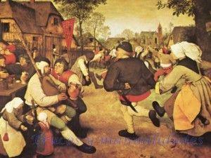 La danza de los campesinos. Por Bruegel el Viejo. Esta obra data de los últimos años del pintor, cuando el país estaba asolado por la miseria y el hambre. Bruegel el Viejo es uno de los pocos artistas de su época que describe con realismo las escenas de la vida cotidiana. Kunsthistorisches Museum, Viena.