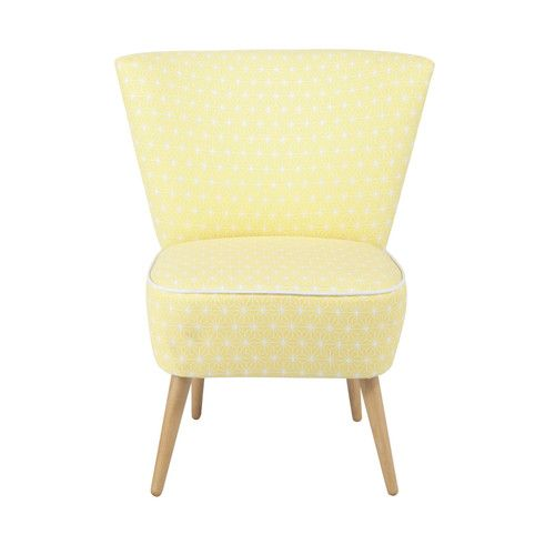 fauteuil vintage motifs en coton jaune am nagement int rieur pinterest vintage. Black Bedroom Furniture Sets. Home Design Ideas