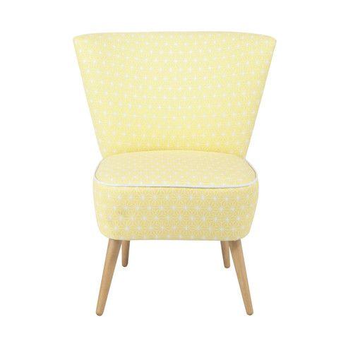 fauteuil vintage motifs en coton jaune am nagement. Black Bedroom Furniture Sets. Home Design Ideas