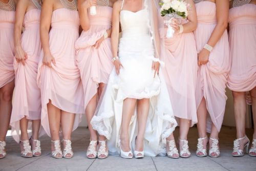 long pink bridesmaids