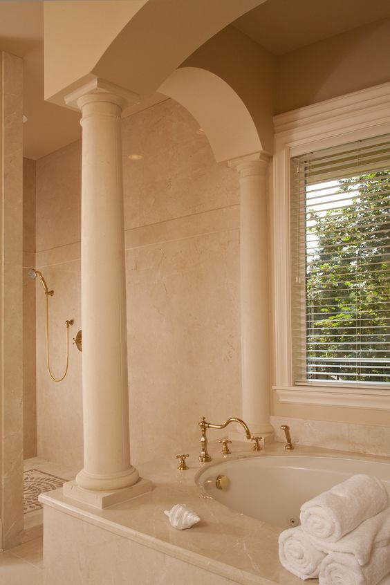 luxury master bath column open shower