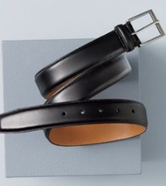 exquisite black leather belt