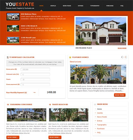 This Joomla Real Estate Template Has A Mortgage Calculator Module