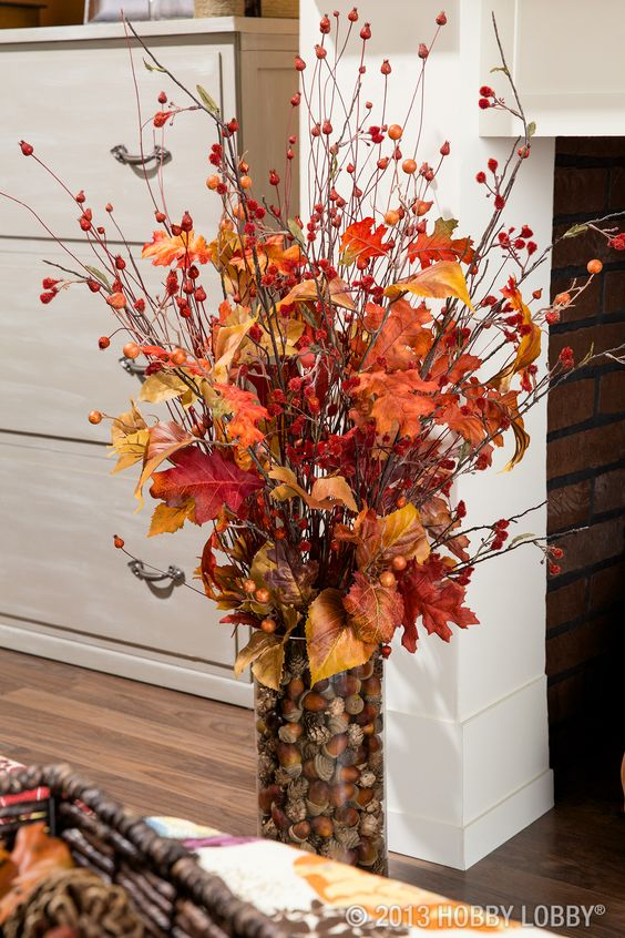 Use faux-floral stems for a flower arrangement that will last all the way through the chilly days of Fall and Winter and straight into Spring.: