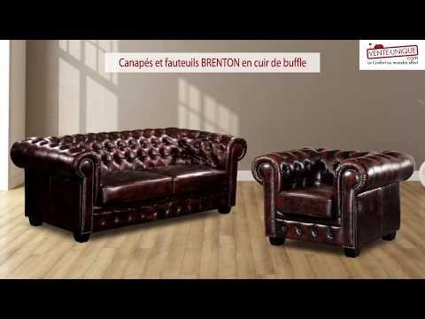Canape Chesterfield En Cuir Brenton Vente Unique Fauteuil