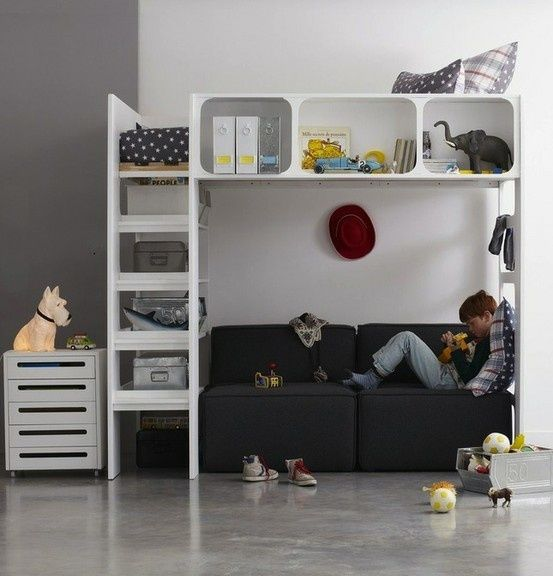 Modern bunk design with storage and shelving nice for for Modern kids bunk beds