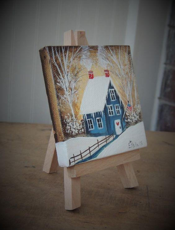 Americana Winter Original Miniature Canvas by EstellesPaintedTreas