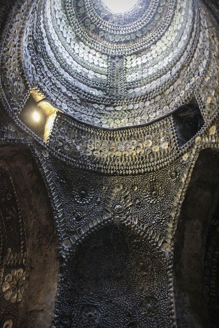 The Shell Grotto in Margate, Kent, England. An underground labyrinth of mosaics created from millions of seashells, discovered in 1835. The origin of the grotto is unknown. #WorldBeautifulPlaces #Seashells