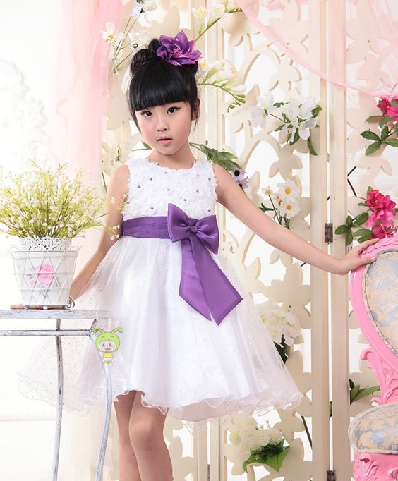 Latest designs bowknot white flower dresses baby girl princess dresses for girl of 5 years old 2014 US $16.67
