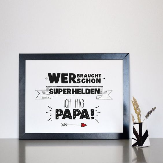 Statement-Poster Superhelden Papa Din A4