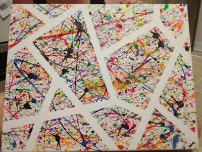 SPLATTER PAINT CANVAS-- Get messy! (lines created with masking tape)