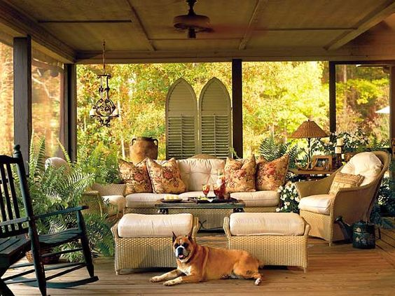 Hanging shutters:  Eating Place,  Eating House, Screened Porch, Living Room, Outdoor Room, Sun Room, Sunroom