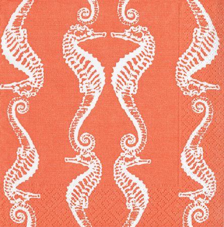 Caspari Seahorses Coral Printed 3-Ply Paper Cocktail Napkins Wholesale 11892C