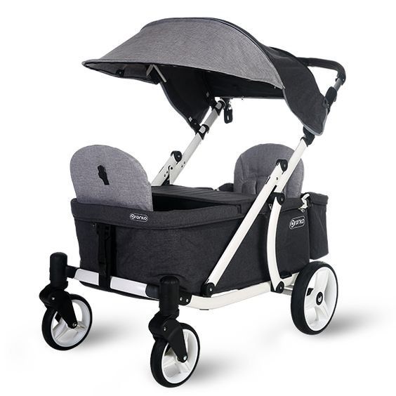 White Frame and WheelsGrey Melange Fabric Starter package includes:Pronto ONE - StrollerwagonCanopyLeather handle(2) Seat backsCanopy strap Expected Ship Date 4/25/19