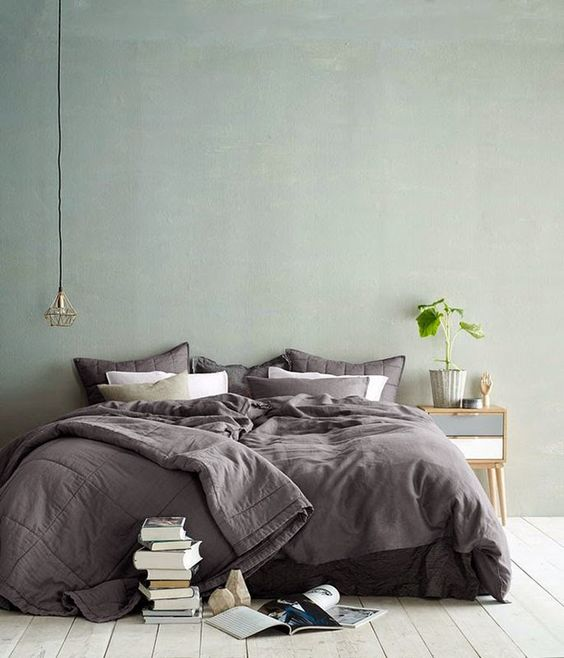 Scandinavian bedroom light green walls