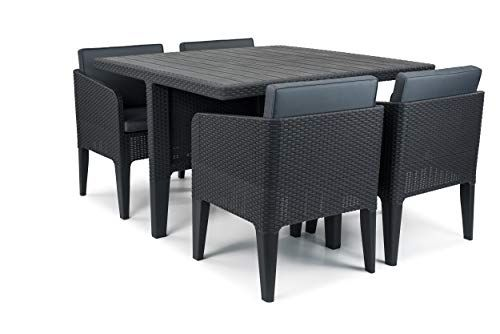 Keter Dining Set Columbia 5pieces Graphite 56x 54x 68cm 17202279
