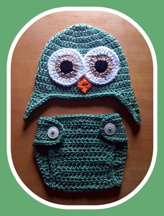 Newborn Baby Boy Crochet OWL Green Diaper Cover n by shayahjane, $26.99