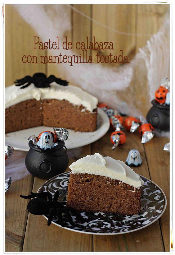 Pastel de calabaza con mantequilla tostada {by Paula, Con las Zarpas en la Masa}