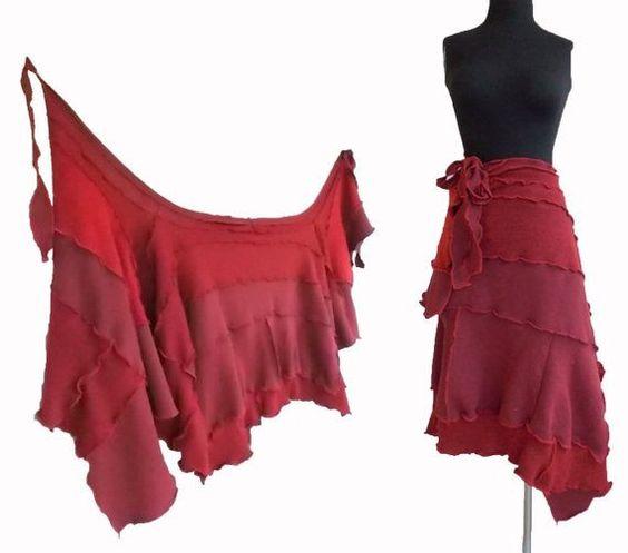 Asymmetric Wrap Sweater Skirt Ruffled Red Maroon recycled Patchwork repurposed wool sweatshirt fabrics: