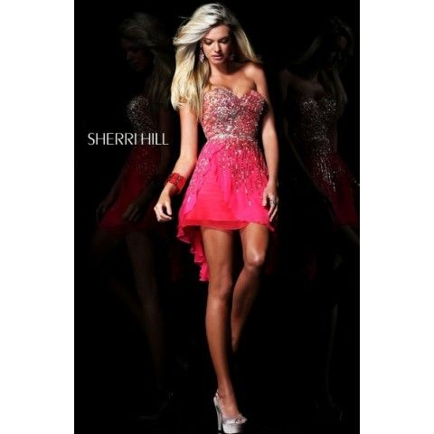 Sherri Hill 8443 Strapless Sequin Sweetheart Dress Hot Pink