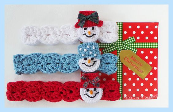 CROCHETED HEADBAND PATTERN Snowman headband pattern with step by step photo tutorial !!!