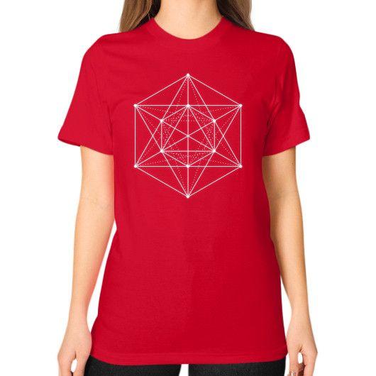 Sacred geometry Minimal Hipster Line Art Unisex T-Shirt (on woman)