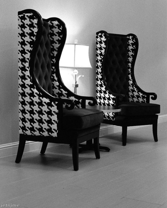 Love these two high back chairs  I have a set that I need to re-cover