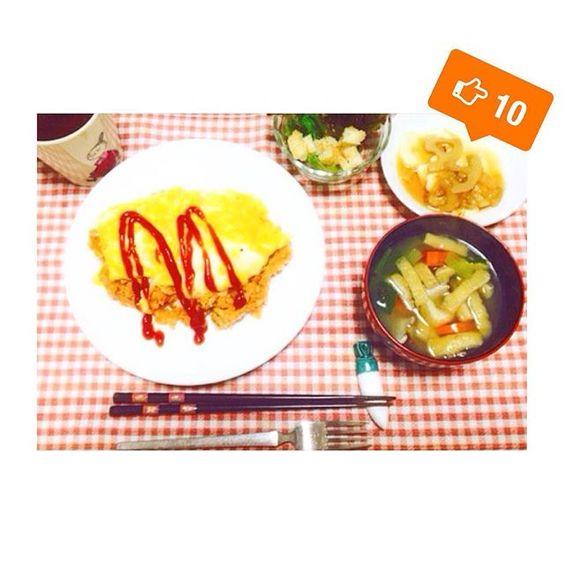 bems36520151106 #おうちごはん  #オムライス #あぶらあげと野菜の味噌汁 #豆腐ステーキ #クルトンサラダ