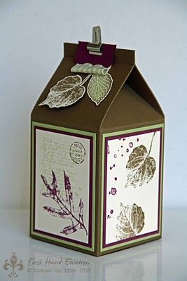 Milkbox from Stampin' UP! I can't believe this stamp set (French Foliage) is retiring at the end of this month.