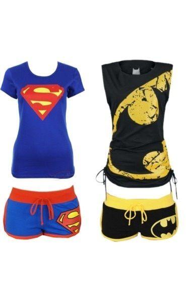 Superman and batman pajamas ha awesome :)