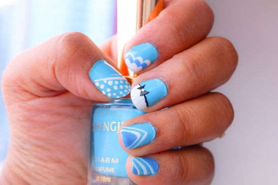 Nail art easy basic design for beginners blue n white with a special bow design