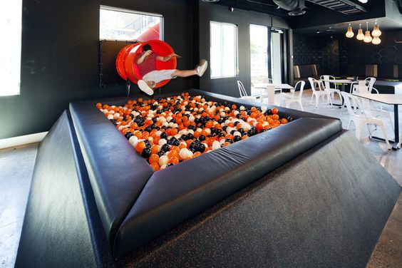 Ball Pit idea. I kind of love that there are only a few colors of balls here.