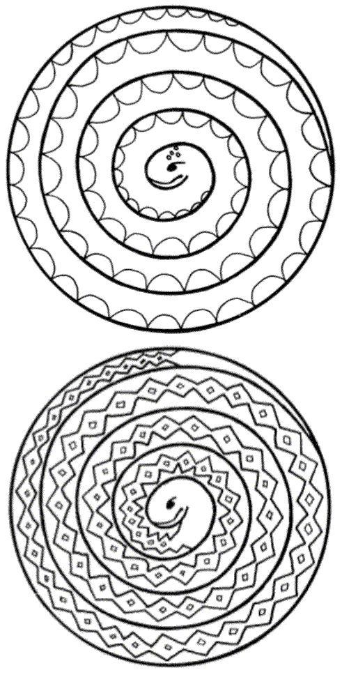 Verwerking/ knutsel. Spiraal slangen. Plaatje om te printen. (Adam en Eva?) // Picture of spiral snakes to print and color. (Adam and Eve?)