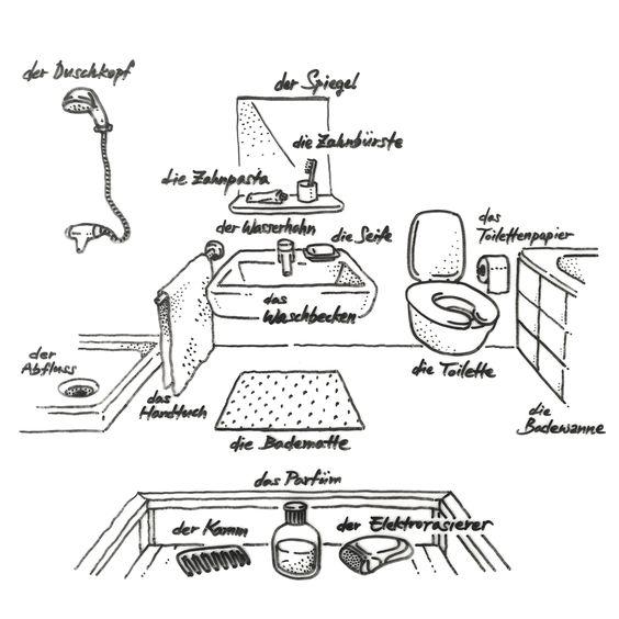 Handgezeichnetes Deutsch — 008. Das Badezimmer  Deutsch spielerisch lernen  Pinterest  Deutsch