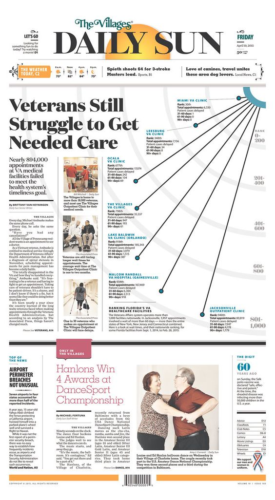Interesting way to do this #graphic. | The Villages Daily Sun for April 10, 2015, via Today's Front Pages | Newseum #newsdesign #newspapers