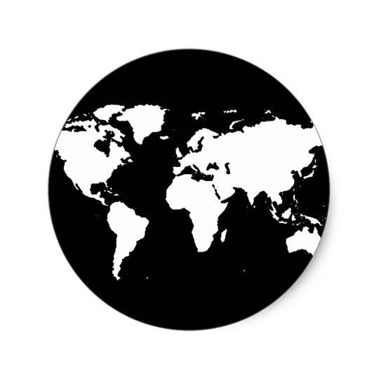 World Map Black White Classic Round Sticker Zazzle Ca Vinyl Art Paint Black Stickers Map Icons