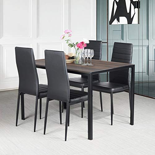 Aingoo Rustic Dining Table Chairs Set 4 Vhairs Wooden Mdf 47