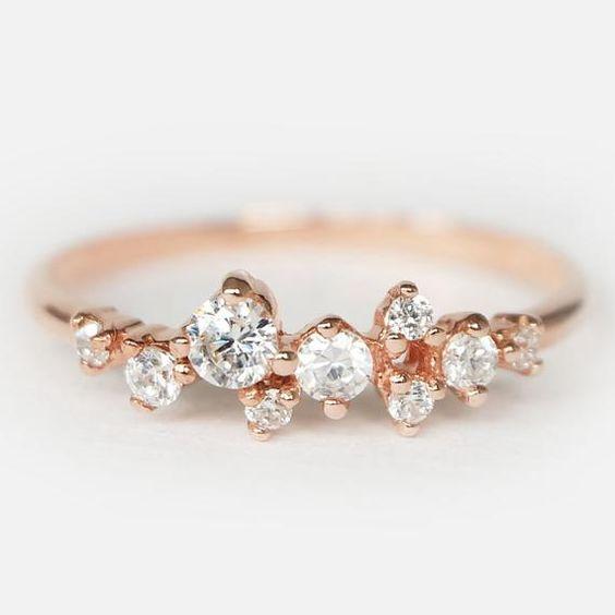 Topaz Cluster Ring 14k Gold Cluster Ring Cluster Ring Etsy In 2020 Diamond Cluster Ring Gold Rings Simple Cluster Ring
