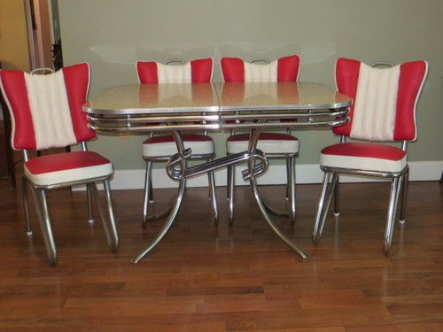 Rare style ready to use 1950 39 s art deco chrome formica - Deco table retro ...