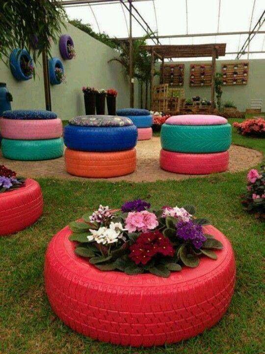 Macetas y sillones de llanta llantas decoradas for Decoracion con neumaticos