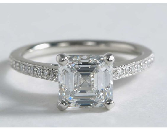 Riviera Pavé Heirloom Cathedral Diamond Engagement Ring in Platinum 1 10 ct