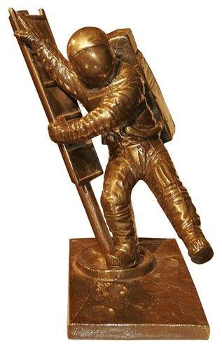 Signed Bronze Astronaut Moonwalk Sculpture