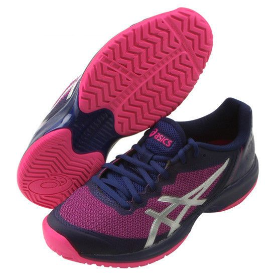 7fec192805fa18 ASICS Gel Court Speed Women s Tennis Shoes Navy Pink Racquet All Court  E850N-400  ASICS