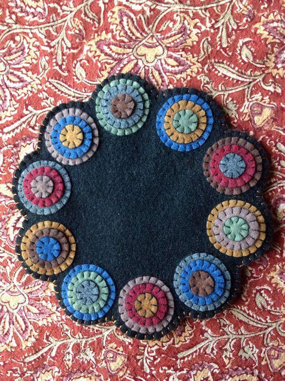 Wool Felt Penny Rug or Penny Mat, Candle Mat, Table Decor, Colorful Fiber Arts, Primitive Decor, Folk Art, Mug Rug, Coaster