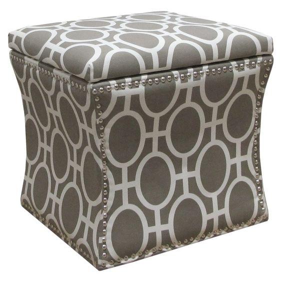 Accent Furniture Nailhead Storage Ottoman Trellis : Target