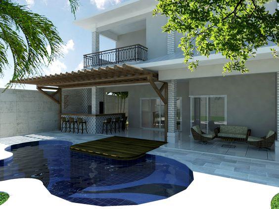 A piscina com formato orgânico também é uma ideia sofisticada e original para sua área de lazer. A piscina da imagem foi locada próximo ao bar da residência, inserimos ao projeto também um lindo deck em madeira que se prolonga acima da piscina, tornando o espaço ainda mais bonito. #ProjetoDeAutoriaDoEscritórioIDEAArquitetura# (66) 3405 2145 ou (66) 9 9998 6804