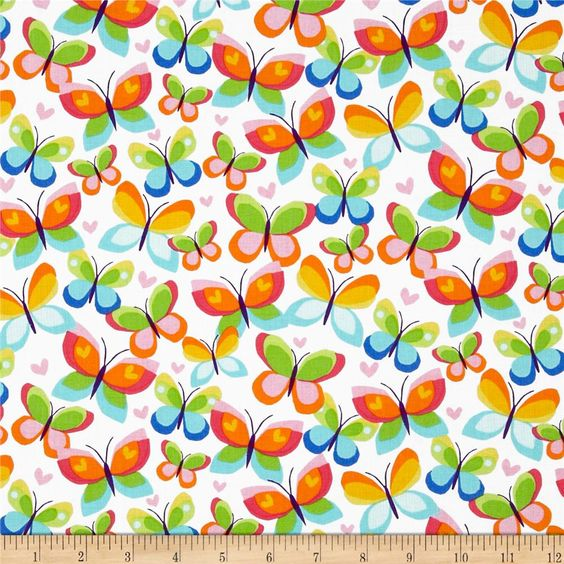 Michael Miller Happy Town Hearts Aflutter White/Multi from @fabricdotcom Designed for Michael Miller Fabrics, this cotton print is perfect for quilting and craft projects as well as apparel and home décor accents. Colors include orange, pink, green, white, blue and yellow.